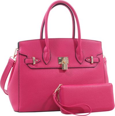 Epic Chic Mara Satchel With Matching Wallet Fuchsia - Epic Chic Manmade Handbags