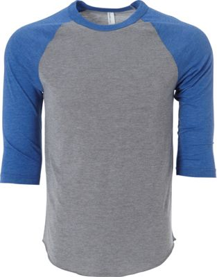 Simplex Apparel Unisex Triblend Raglan Tee M - Heather Grey/Royal - Simplex Apparel Men's Apparel 10451423