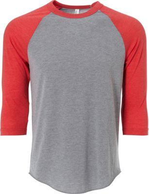 Simplex Apparel Unisex Triblend Raglan Tee M - Heather Grey/Ruby Red - Simplex Apparel Men's Apparel 10451429