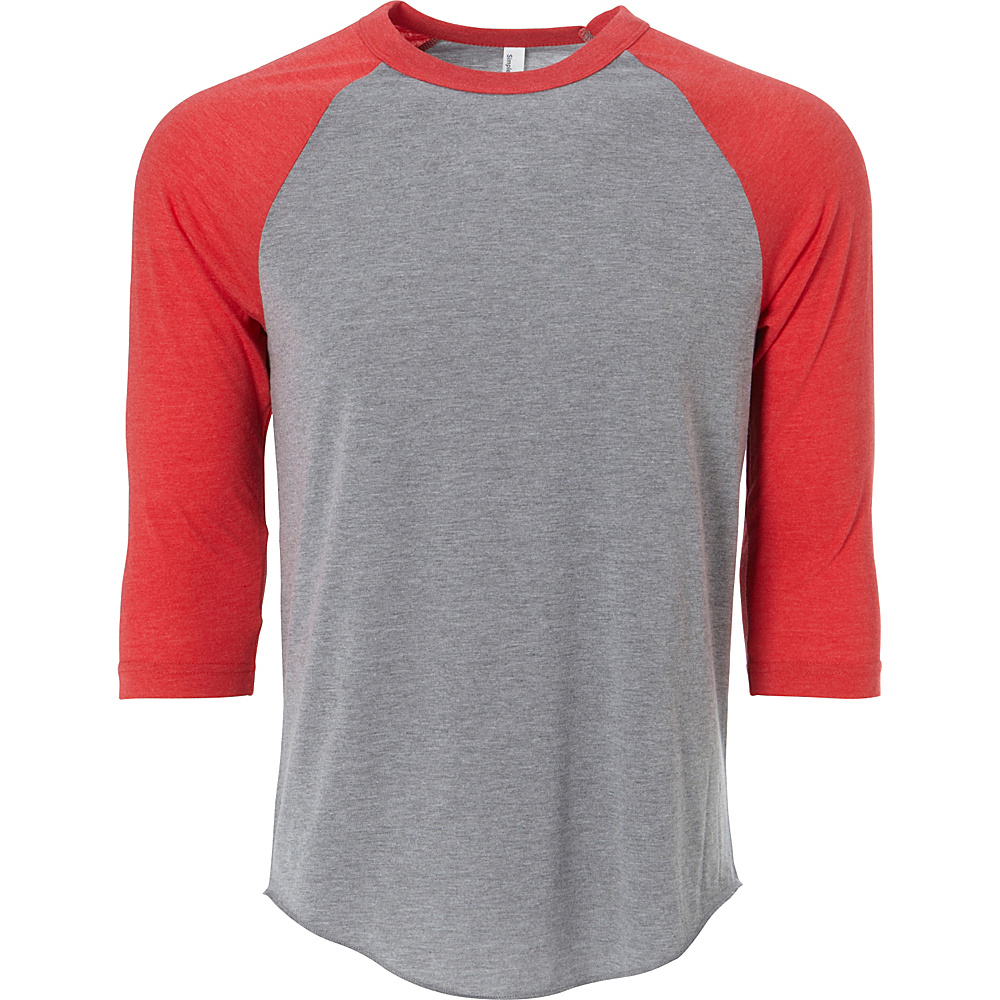 Simplex Apparel Unisex Triblend Raglan Tee L - Heather Grey/Ruby Red - Simplex Apparel Mens Apparel - Apparel & Footwear, Men's Apparel