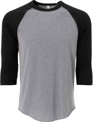 Simplex Apparel Unisex Triblend Raglan Tee M - Heather Grey/Vintage Black - Simplex Apparel Men's Apparel
