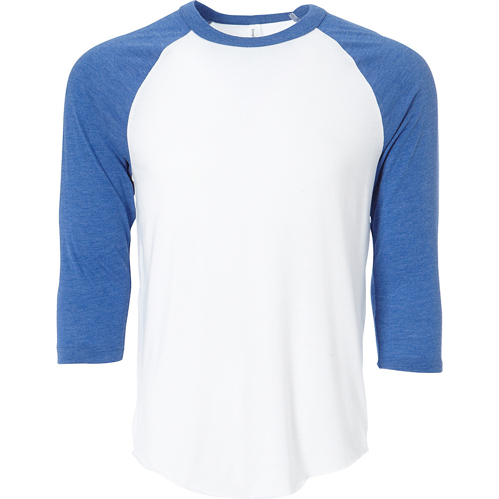 Simplex Apparel Unisex Triblend Raglan Tee 2XL - White/Royal - Simplex Apparel Mens Apparel - Apparel & Footwear, Men's Apparel