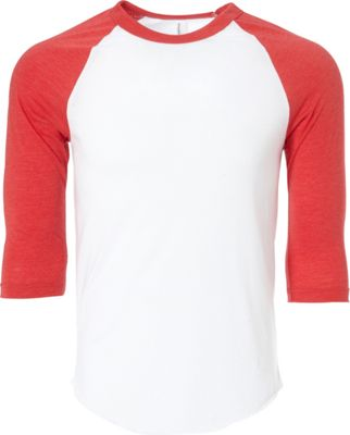 Simplex Apparel Unisex Triblend Raglan Tee XS - White/Ruby Red - Simplex Apparel Men's Apparel