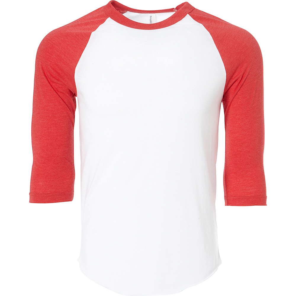Simplex Apparel Unisex Triblend Raglan Tee XL - White/Ruby Red - Simplex Apparel Mens Apparel - Apparel & Footwear, Men's Apparel