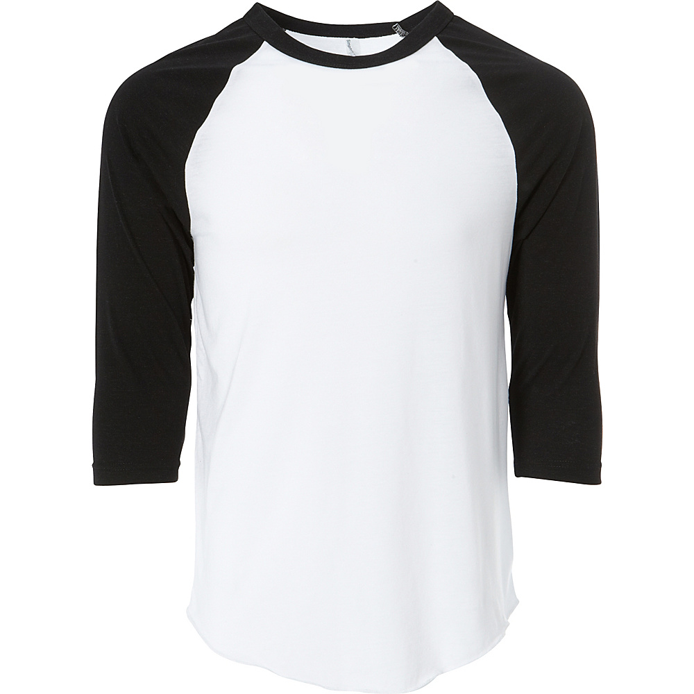 Simplex Apparel Unisex Triblend Raglan Tee L - White/Vintage Black - Simplex Apparel Mens Apparel - Apparel & Footwear, Men's Apparel
