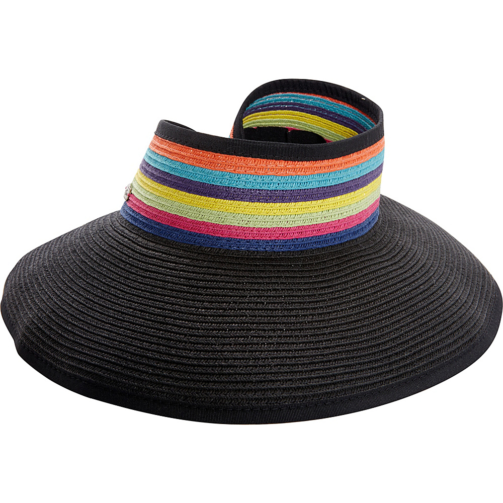 Sun N Sand Roll Up Rainbow Visor One Size - Black - Sun N Sand Hats/Gloves/Scarves - Fashion Accessories, Hats/Gloves/Scarves