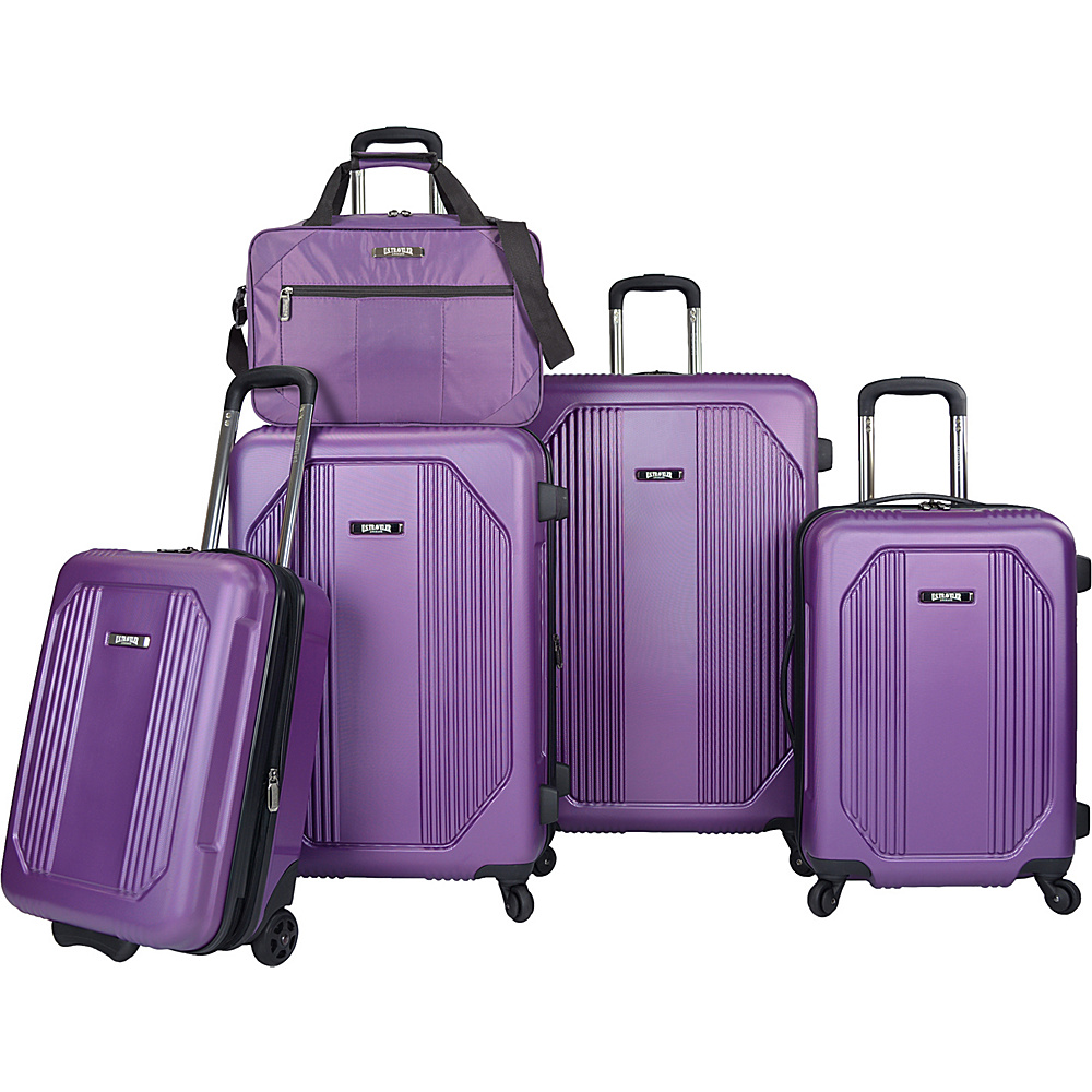 U.S. Traveler Bloomington 5-Piece Spinner Luggage Set Purple - U.S. Traveler Luggage Sets