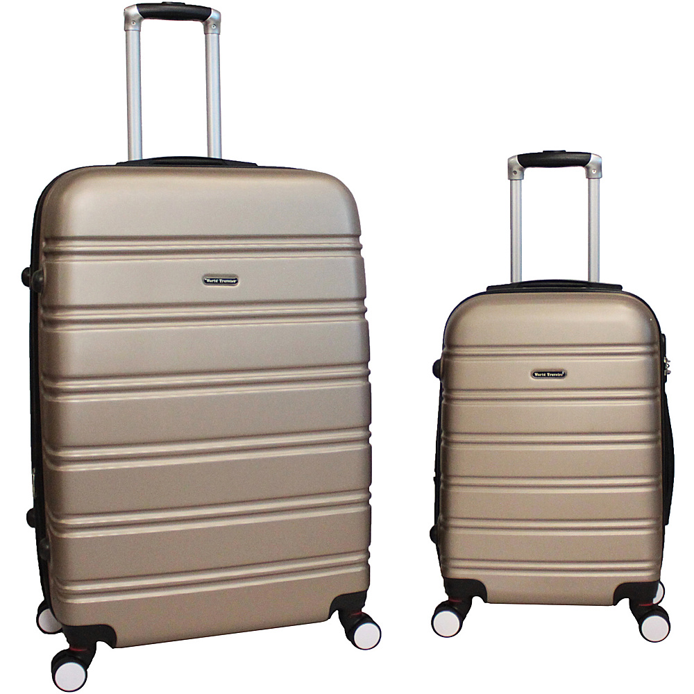 World Traveler Bristol 2-Piece Hardside Spinner Luggage Set CHAMPAGNE - World Traveler Luggage Sets - Luggage, Luggage Sets