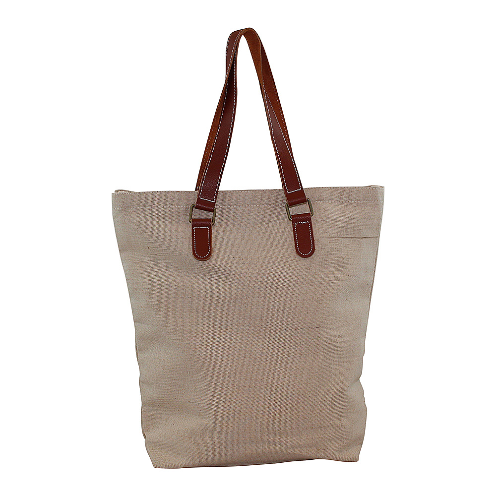 CB Station Jute and Leather Tote Natural CB Station Fabric Handbags