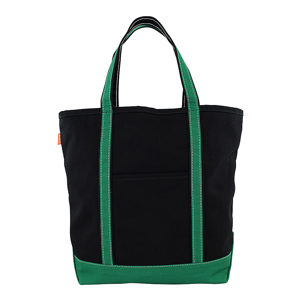 CB Station Tall Boat Tote Solid Black Emerald CB Station Fabric Handbags