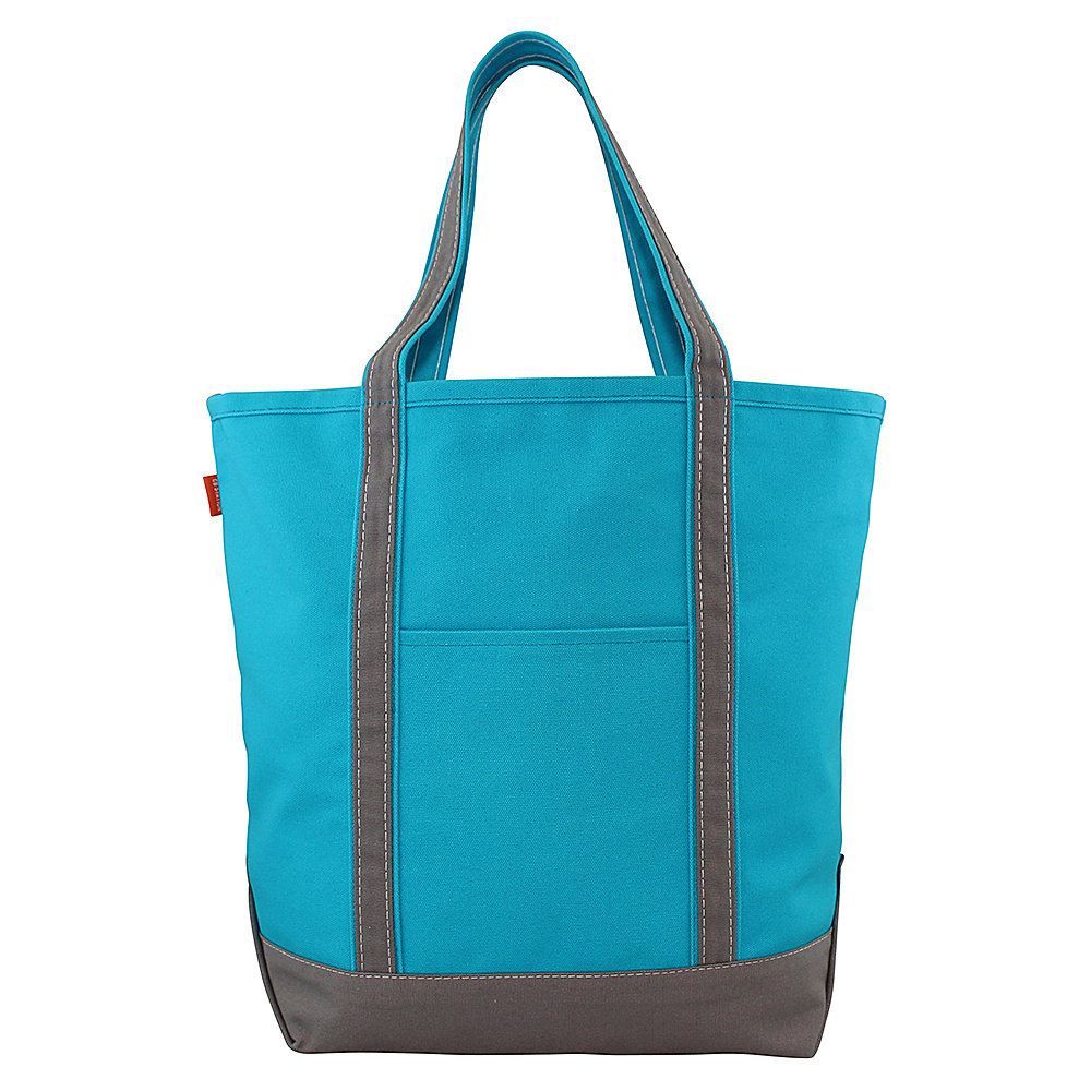 CB Station Tall Boat Tote Solid Turquoise Grey CB Station Fabric Handbags