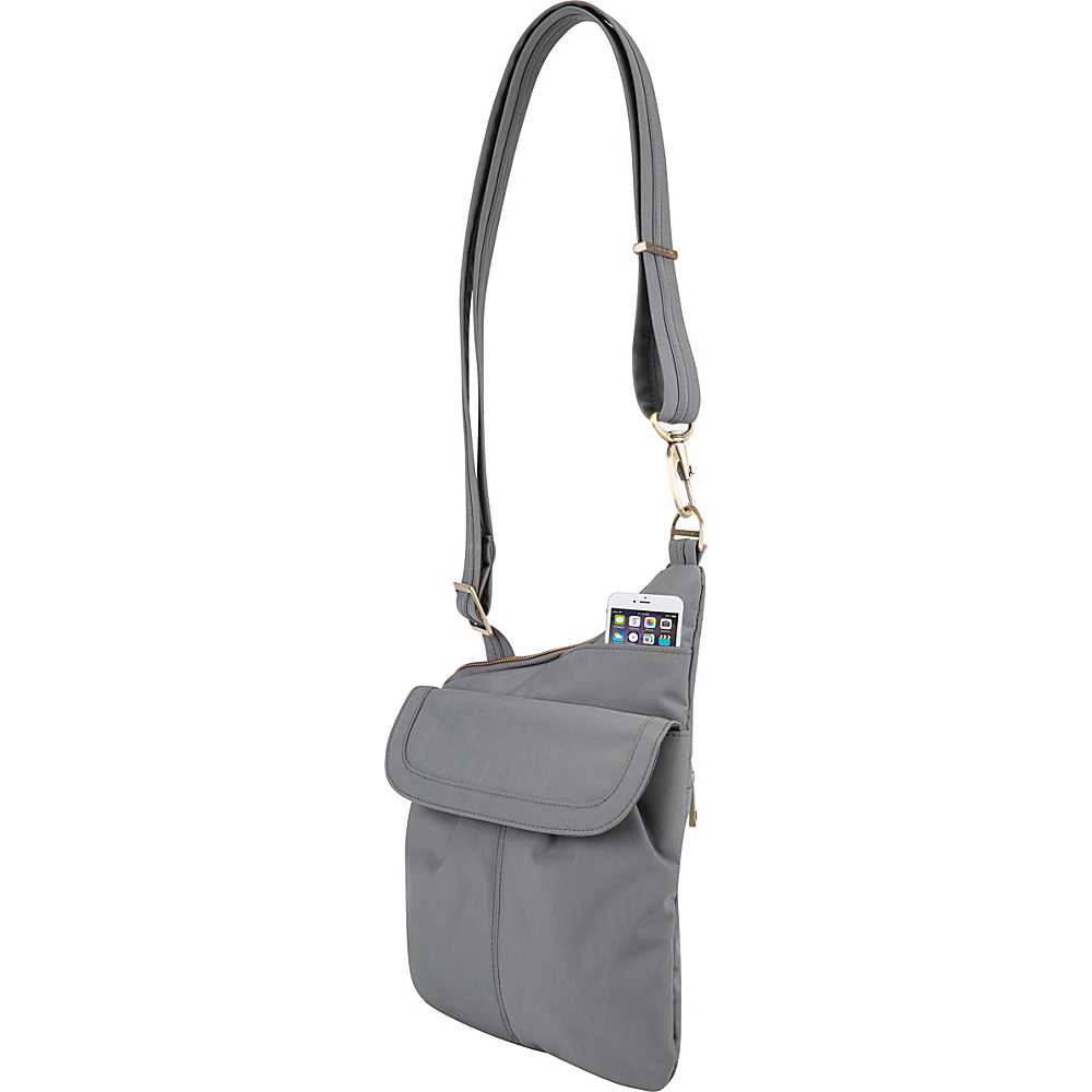 Travelon Anti-Theft Signature Slim Crossbody Bag Pewter - Exclusive Color - Travelon Fabric Handbags - Handbags, Fabric Handbags