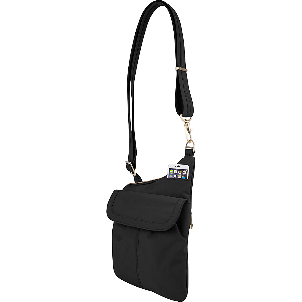 Travelon Anti-Theft Signature Slim Crossbody Bag Black/Gray - Travelon Fabric Handbags - Handbags, Fabric Handbags