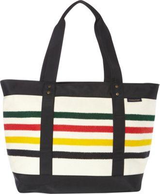 Pendleton Large Zip Tote Glacier Park Stripe - Pendleton Fabric Handbags