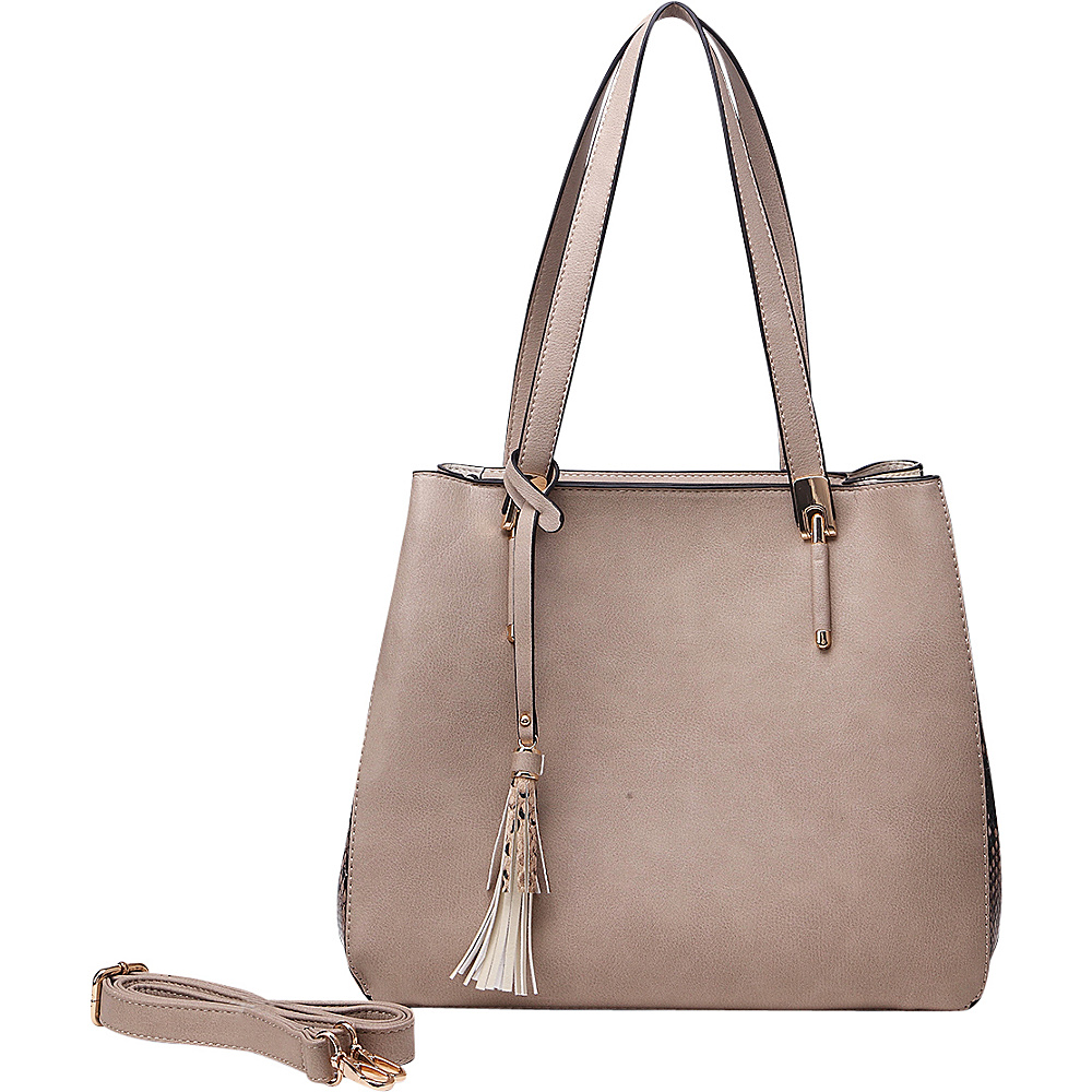 MKF Collection Abagail Shoulder Tote with Removable Organizer Pouch Taupe MKF Collection Manmade Handbags