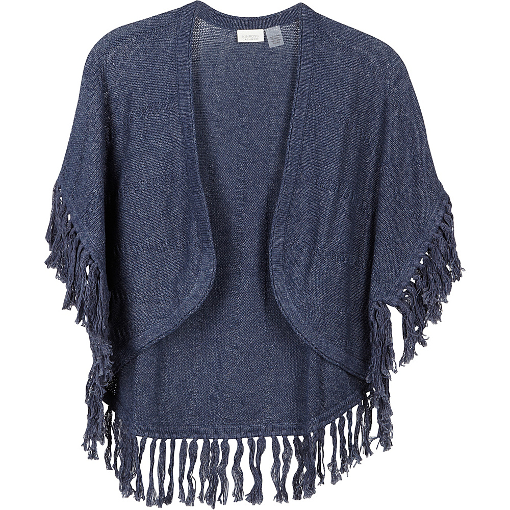 Kinross Cashmere Curved Poncho with Fringe One Size  - Indigo - Kinross Cashmere Womens Apparel - Apparel & Footwear, Women's Apparel