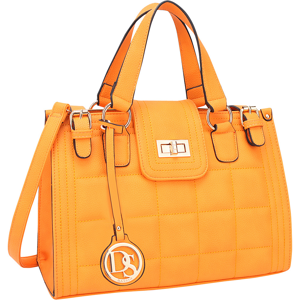Dasein Quilted Satchel with Buckled Details Yellow - Dasein Manmade Handbags - Handbags, Manmade Handbags
