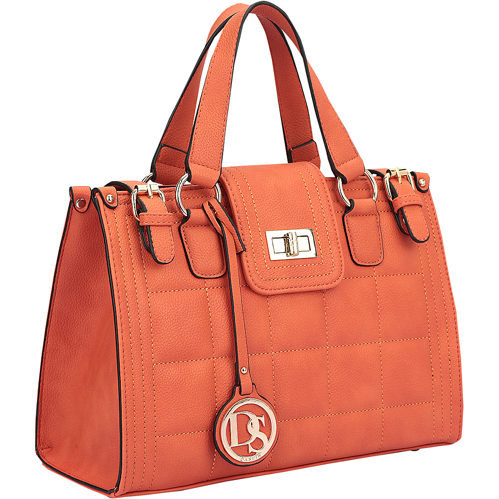 Dasein Quilted Satchel with Buckled Details Orange - Dasein Manmade Handbags - Handbags, Manmade Handbags