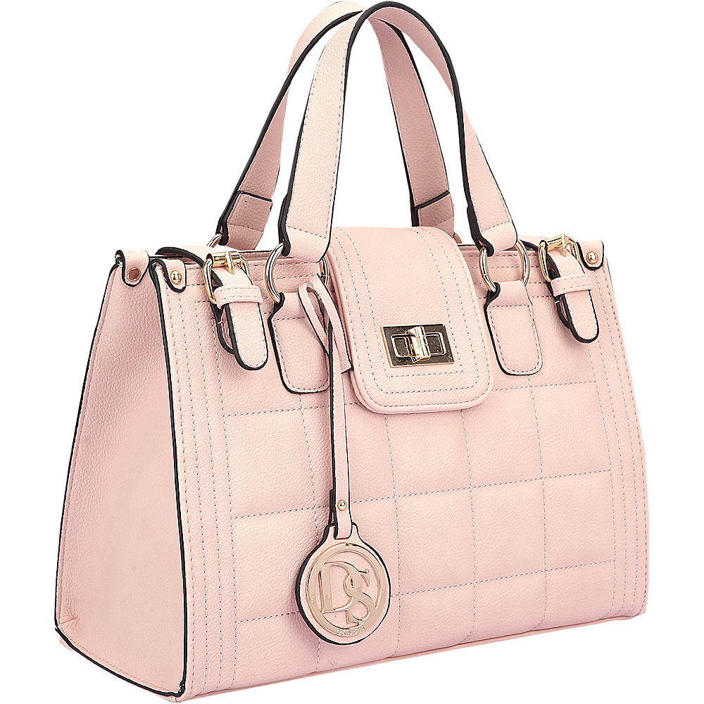 Dasein Quilted Satchel with Buckled Details Light Pink - Dasein Manmade Handbags - Handbags, Manmade Handbags