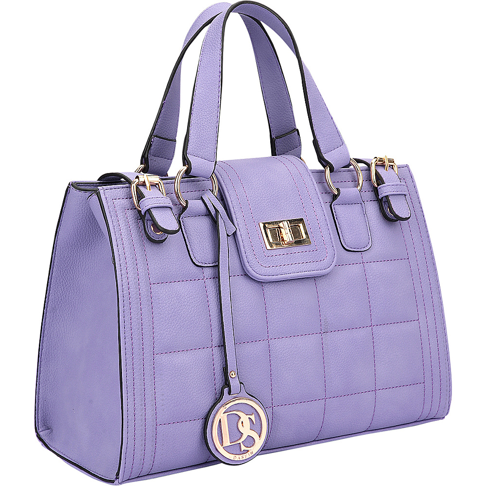 Dasein Quilted Satchel with Buckled Details Purple - Dasein Manmade Handbags - Handbags, Manmade Handbags