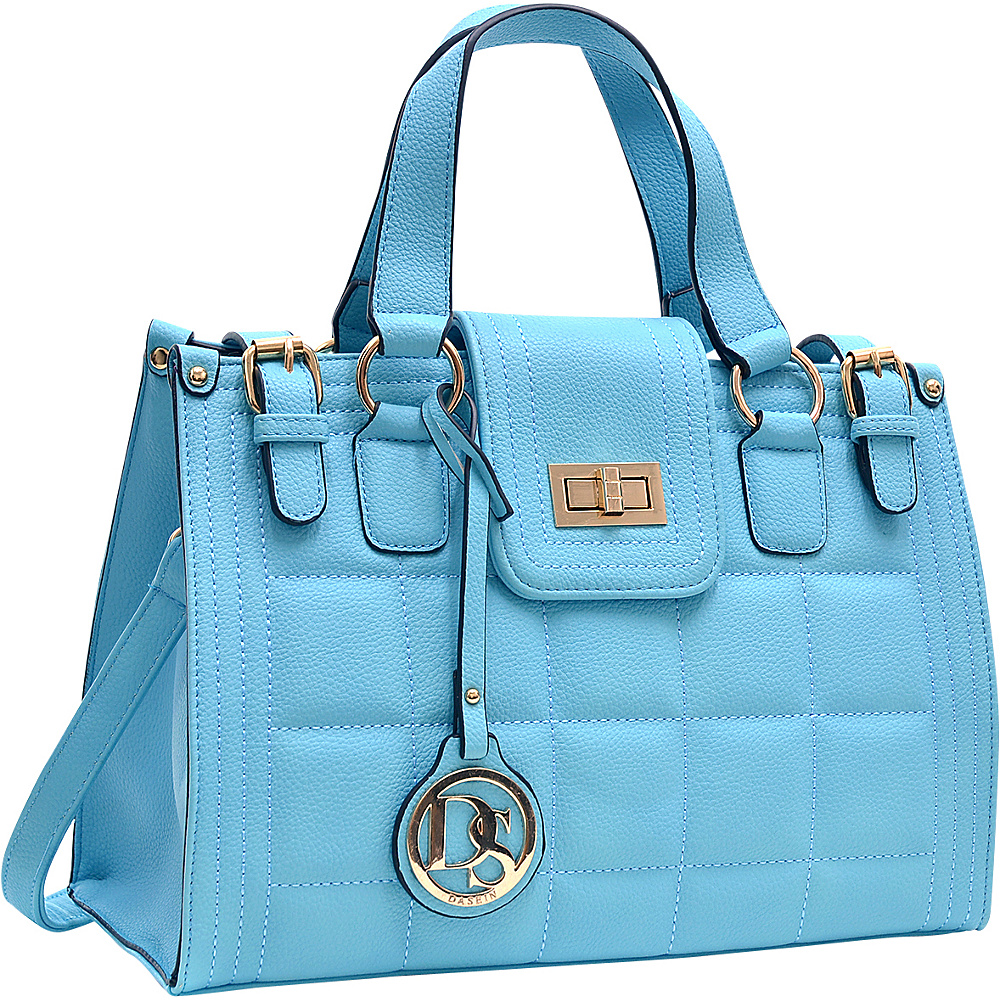 Dasein Quilted Satchel with Buckled Details Blue - Dasein Manmade Handbags - Handbags, Manmade Handbags