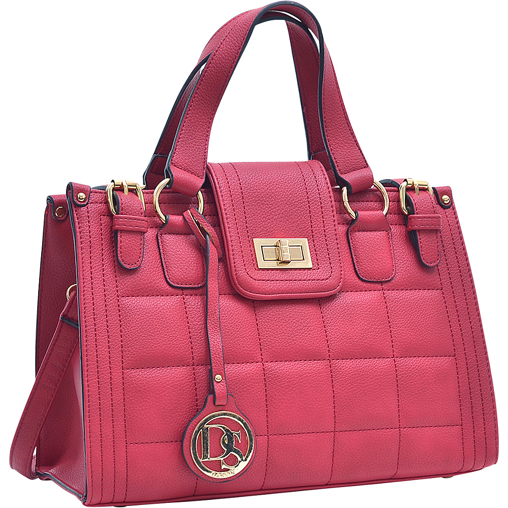 Dasein Quilted Satchel with Buckled Details Red - Dasein Manmade Handbags - Handbags, Manmade Handbags