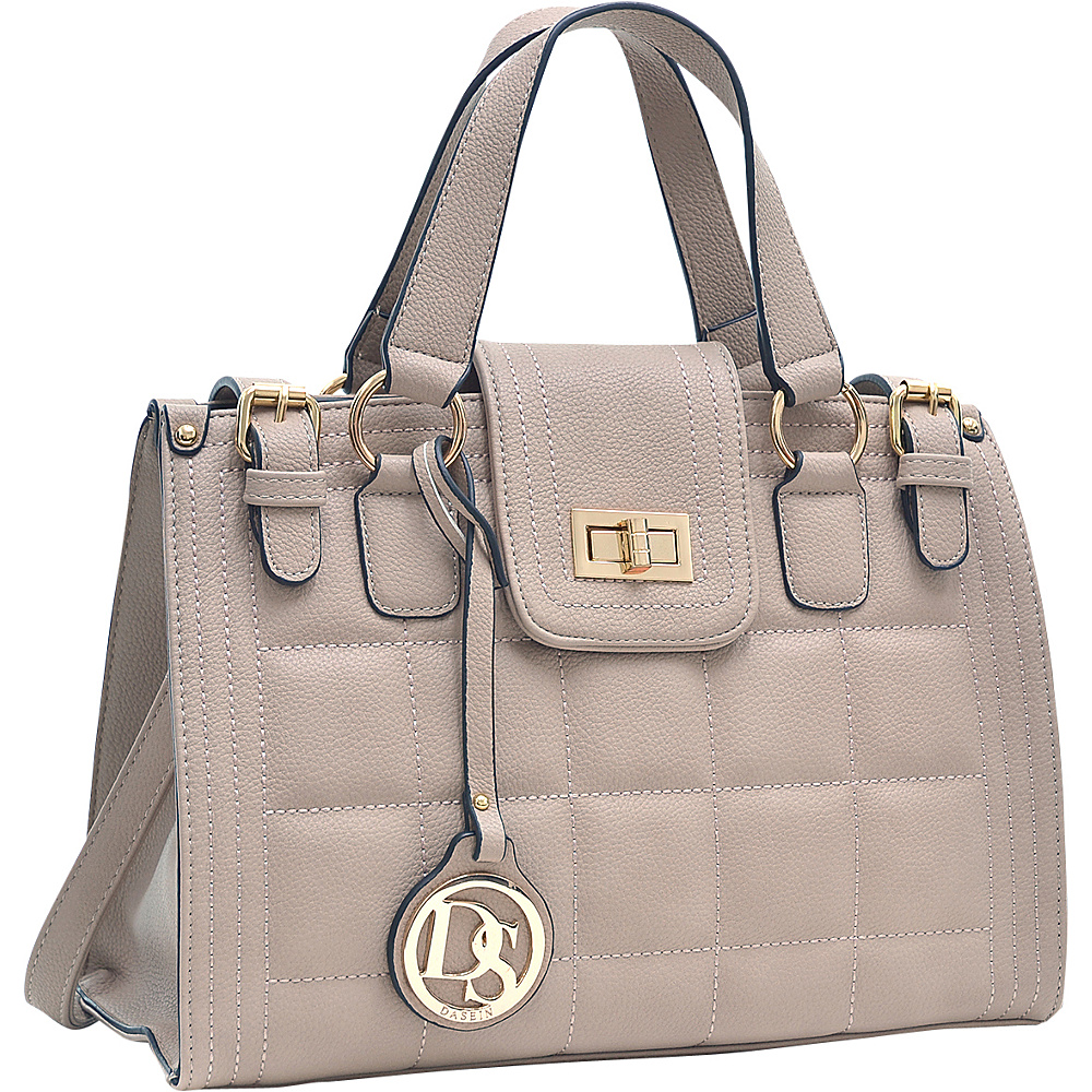 Dasein Quilted Satchel with Buckled Details Beige - Dasein Manmade Handbags - Handbags, Manmade Handbags
