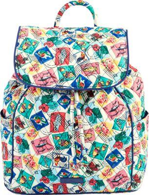 Vera Bradley Drawstring Backpack - Retired Prints Cuban Stamps - Vera Bradley Fabric Handbags