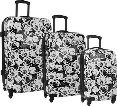 Nine West Luggage EMI 3 Piece Spinner Set White / Cobblestone Grey / Black - Nine West Luggage Luggage Sets