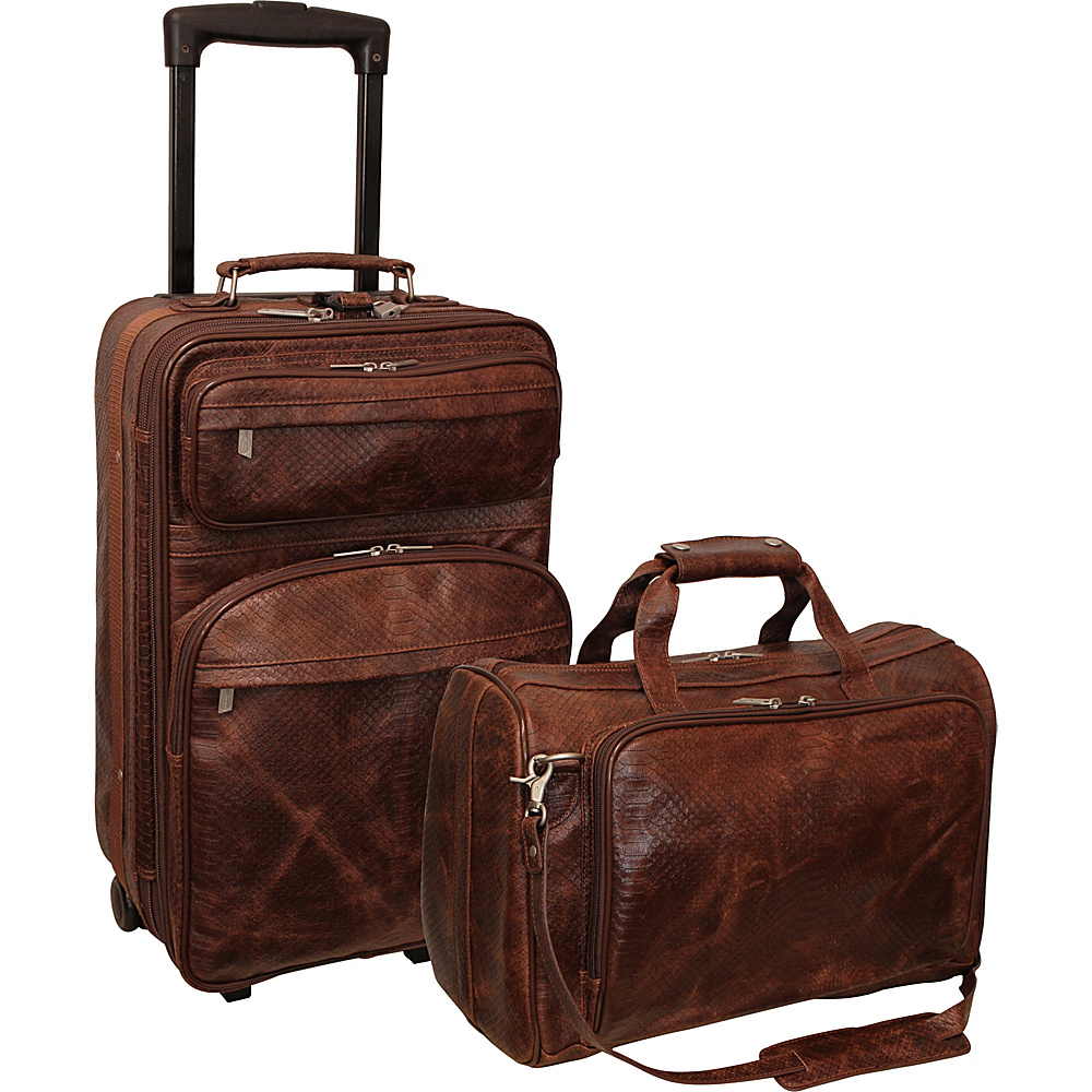AmeriLeather Brown Python Print Leather Two Piece Set Traveler Brown Python - AmeriLeather Luggage Sets - Luggage, Luggage Sets