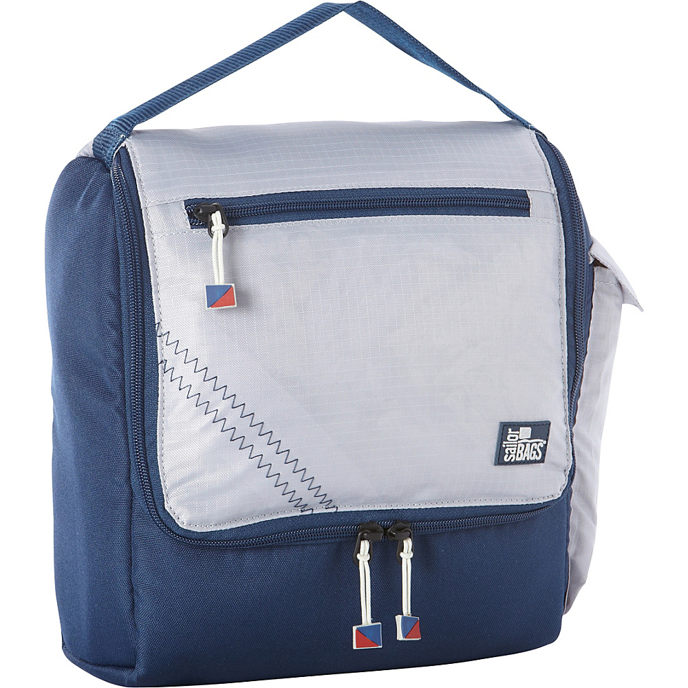 SailorBags Silver Spinnaker Insulated Lunch Box Silver with Blue Trim SailorBags Travel Coolers