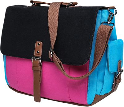 Something Strong Tri-Color Messenger bag with Laptop Compartment Pink/Black/Blue - Something Strong Messenger Bags