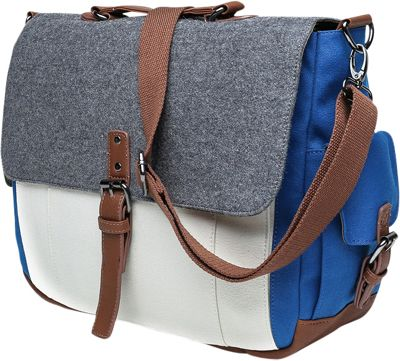 Something Strong Tri-Color Messenger bag with Laptop Compartment White/Grey/Blue - Something Strong Messenger Bags