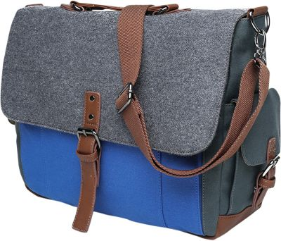 Something Strong Tri-Color Messenger bag with Laptop Compartment Blue/Grey/Blue - Something Strong Messenger Bags