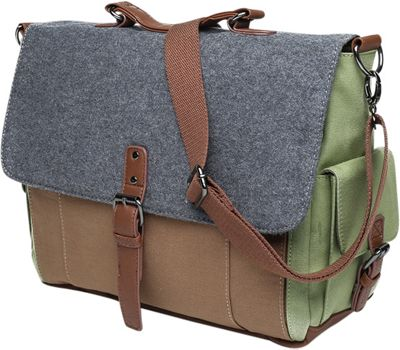 Something Strong Tri-Color Messenger bag with Laptop Compartment Tan/Grey/Green - Something Strong Messenger Bags