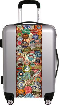 Ugo Bags Travel Stickers By Gary Grayson 26.5 inch Luggage Silver - Ugo Bags Hardside Checked
