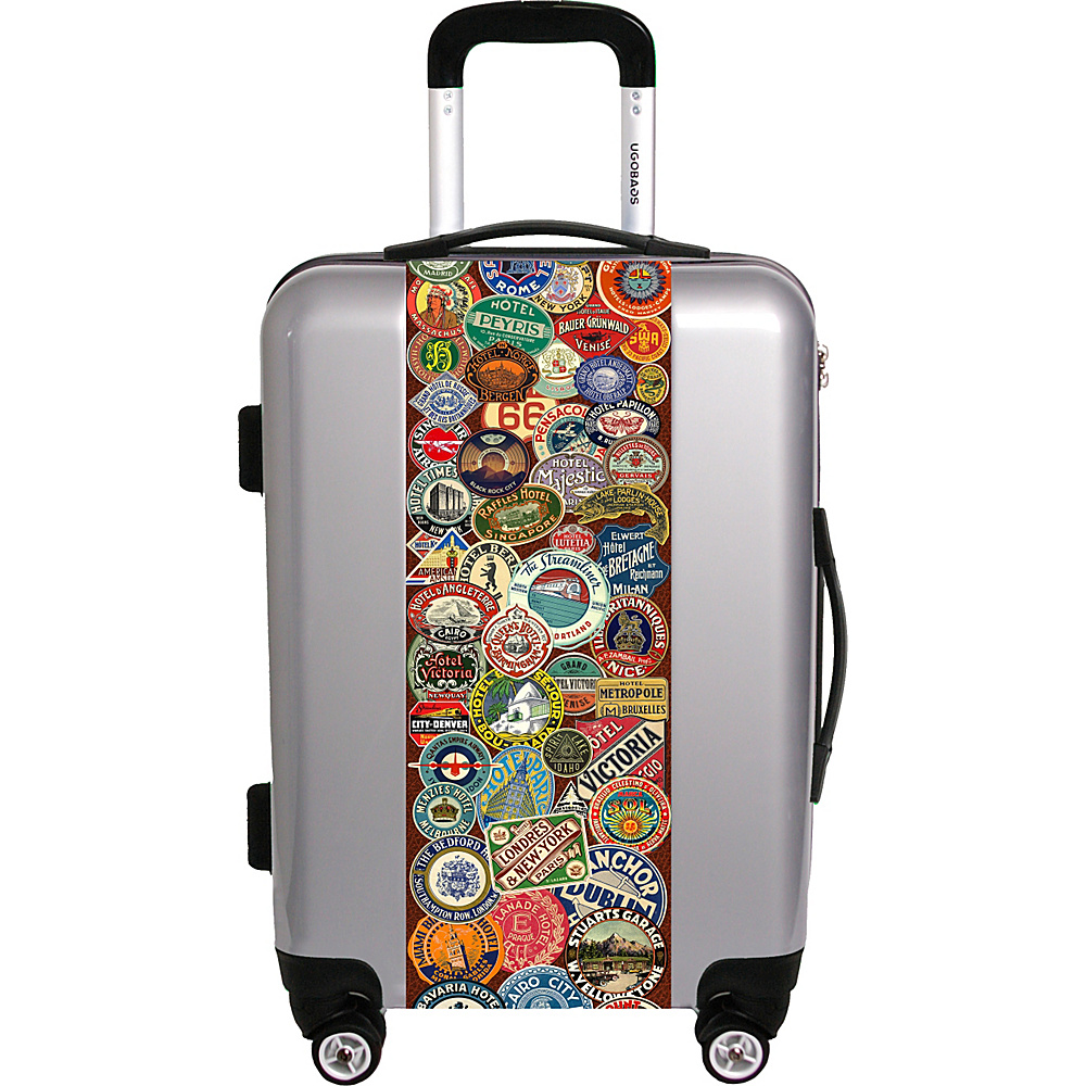 Ugo Bags Travel Stickers By Gary Grayson 26.5 Luggage Silver Ugo Bags Hardside Checked