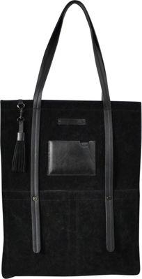 Sherpani Hadley PU Suede Everyday Tote Bag Black - Sherpani Leather Handbags