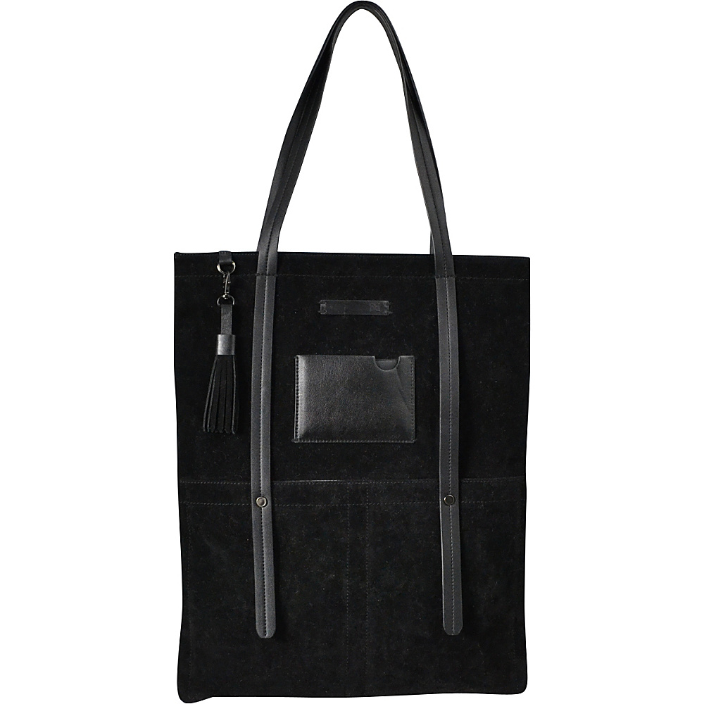 Sherpani Hadley Tote PU Suede Black Sherpani Leather Handbags