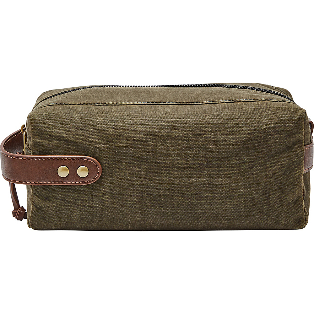 Fossil Waxed Canvas Single Zip Shave Kit Green - Fossil Toiletry Kits - Travel Accessories, Toiletry Kits