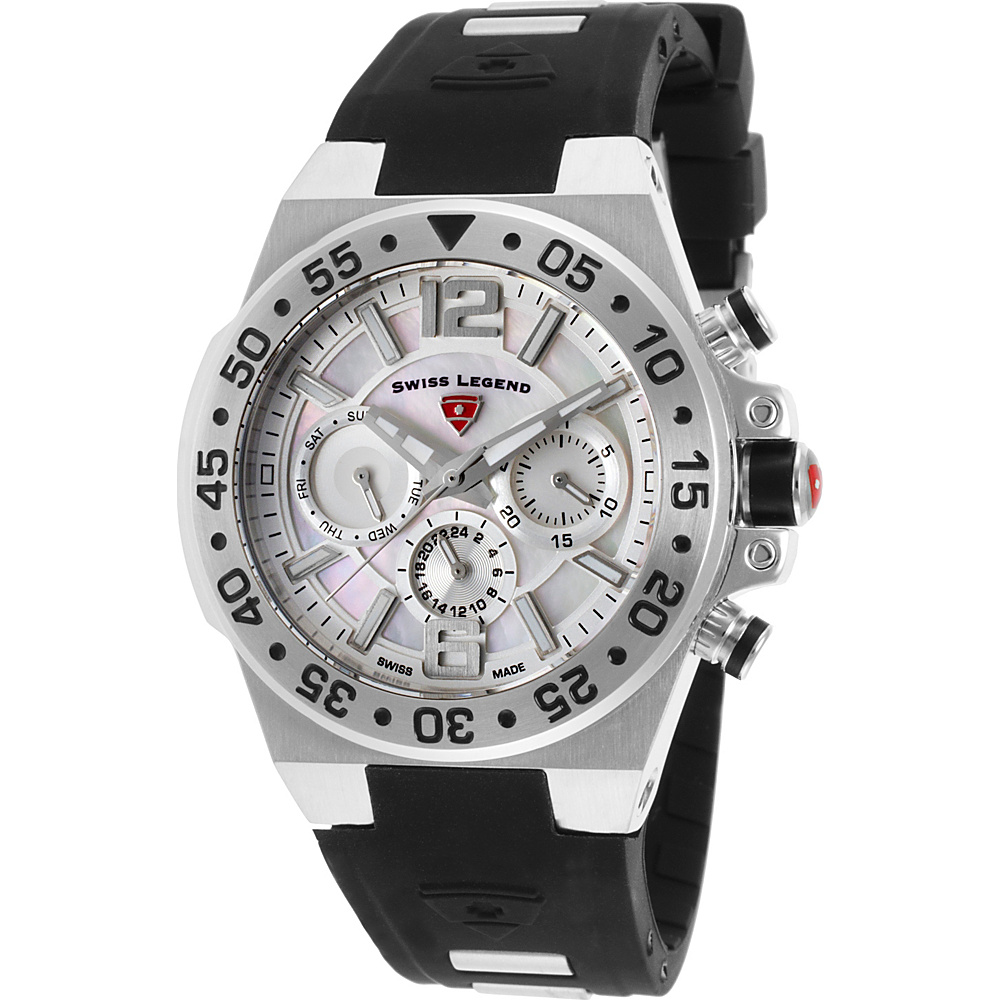 Swiss Legend Watches Opus Multi-Function Silicone Band Watch Black/Silver - Swiss Legend Watches Watches