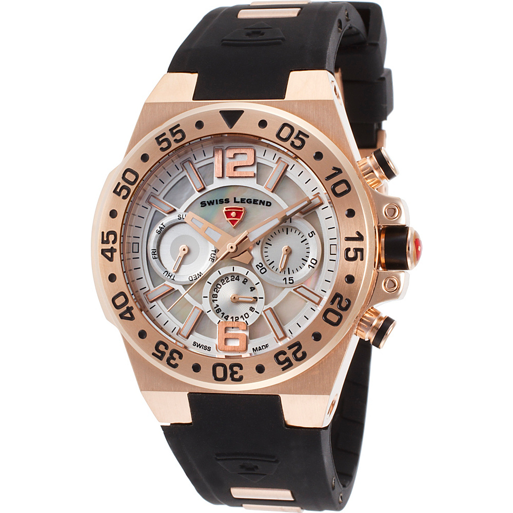 Swiss Legend Watches Opus Multi-Function Silicone Band Watch Black/Rose Gold - Swiss Legend Watches Watches
