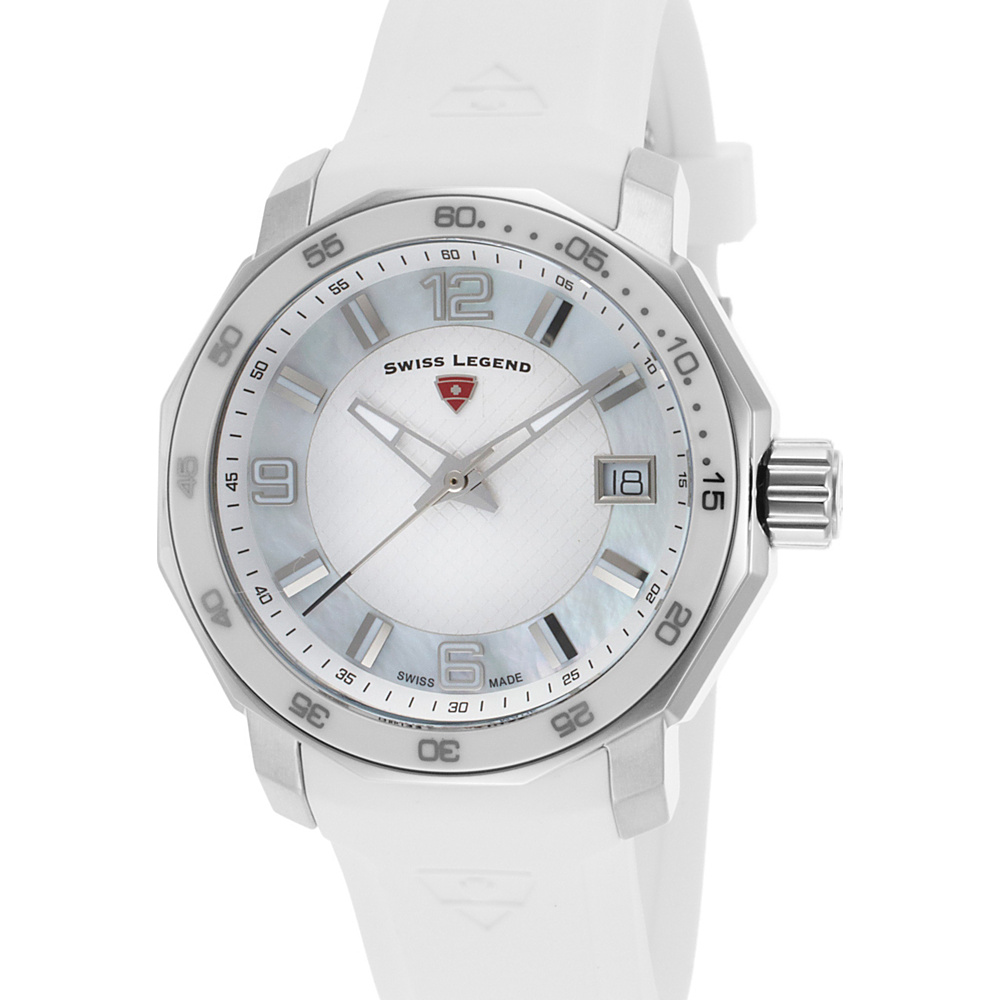 Swiss Legend Watches Geneve Silicone Band Watch White/Silver - Swiss Legend Watches Watches