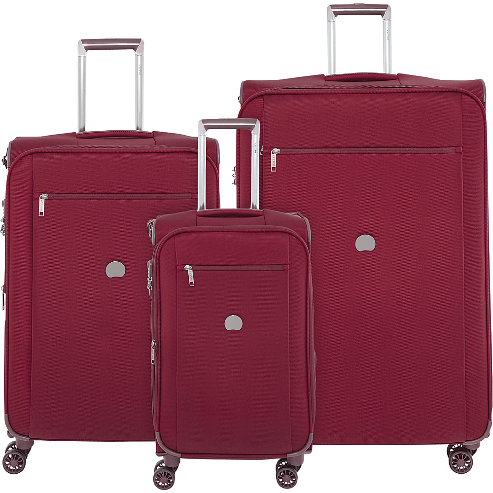 Delsey Montmartre+ 3 Piece Spinner Luggage Set Red - Delsey Luggage Sets