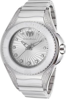 TechnoMarine Watches Womens Blue Manta Diamond Stainless Steel and Ceramic Watch Silver-Tone and white - TechnoMarine Watches Watches