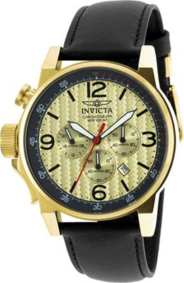 Invicta Watches Mens I-Force Chronograph Genuine Leather Band Watch Black/Gold/Gold - Invicta Watches Watches