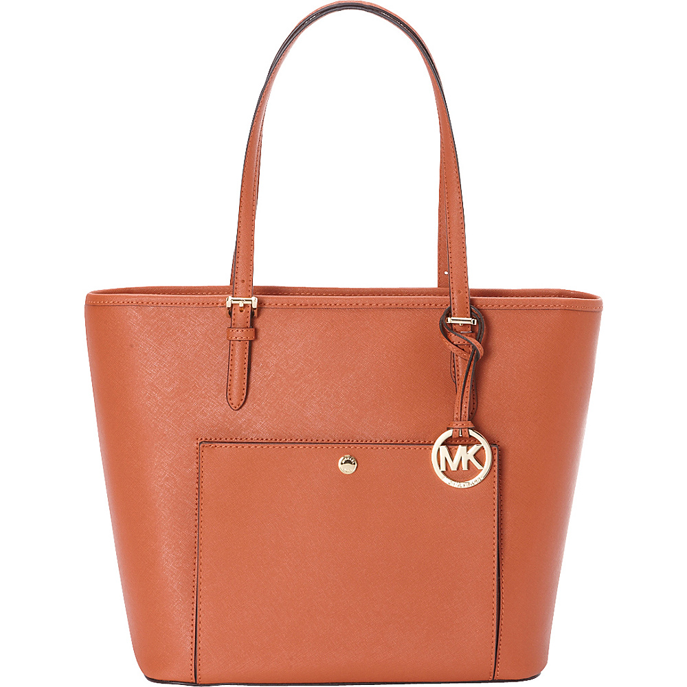 MICHAEL Michael Kors Jet Set Item Large Top Zip Snap Pocket Tote Orange MICHAEL Michael Kors Designer Handbags