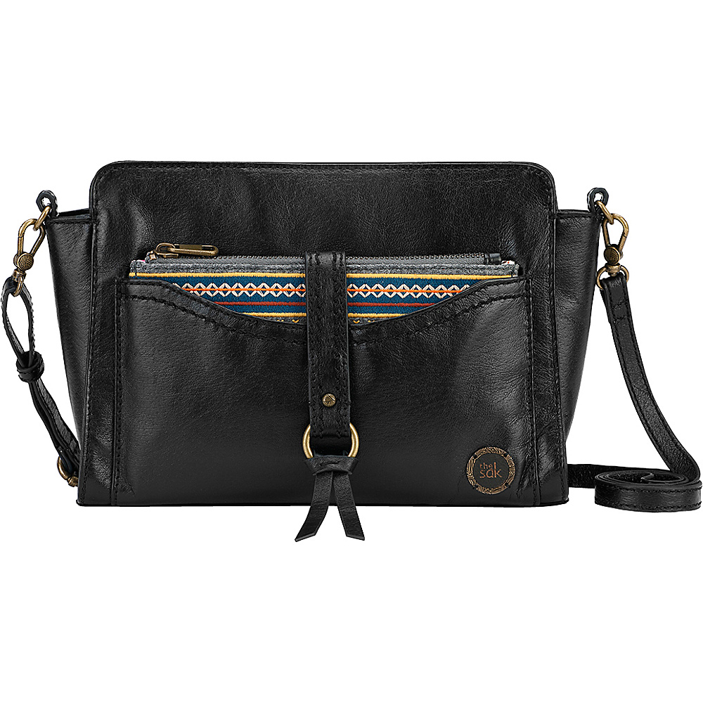 The Sak Sonora Phone Charging Crossbody Black Embroidered Felt The Sak Leather Handbags