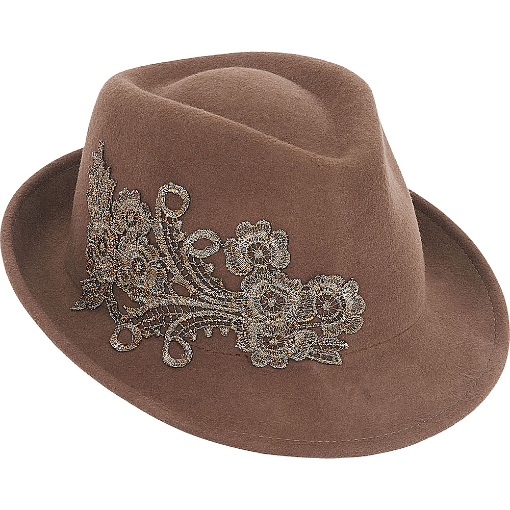 Adora Hats Wool Felt Fedora Hat Pecan Adora Hats Hats Gloves Scarves