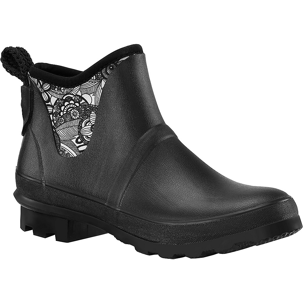 Sakroots Mano Ankle Rain Boot 6 - M (Regular/Medium) - Black & White Spirit - Sakroots Womens Footwear - Apparel & Footwear, Women's Footwear